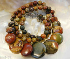 Natural 6-20mm Multicolor Picasso Jasper Round & Coins Beads Necklace 18""