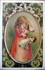 art print~WEIGHING DOLLY~Victorian Little Girl with Scale doll vtg repr 9.5x14.5