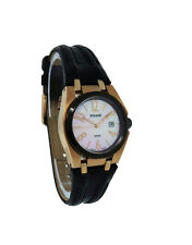 Pulsar PXT660 Women's Mother of Pearl Round Analog Date Leather Strap Watch