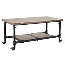 Industrial Coffee Table With Wheels Vintage Style Rustic Steel & Solid Wood NEW