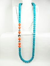 SIMON SEBBAG Stunning Sterling Silver Turquoise & Coral Hand Knotted Necklace