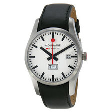 Mondaine Retro Day Date White Dial Black Leather Mens Watch A6673034011SBB
