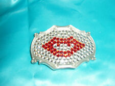 "Chrome ""RED LIPS BELT BUCKLE, KISS RHINESTONE"", GEM Silver BLING Gemstone, Rare"