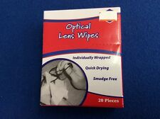 Optical lens wipes, quick drying, smudge free, individually wrapped, 20 ct, New
