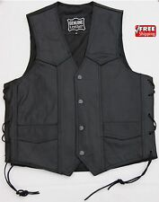 BLACK GENUINE LEATHER VEST MOTORCYCLE MOTORBIKER JACKET  WAISTCOAT,S to 4XL