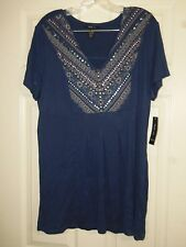 Style & Co Mountain Blue Embellished Tunic Top Size XL NWT