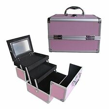 "Pink 10""  Aluminum Makeup Artist Organizer Kit 2 Extendable Tray Lock and Keys"