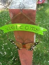 """Butterfly Welcome Sign Tin Metal 8 1/2"""" New With Tags Assorted Colors"""