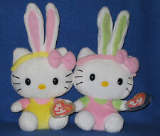 TY HELLO KITTY EASTER BUNNY BEANIE BABY SET of 2 - MINT with MINT TAGS