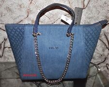 NWT GUESS Nikki Quilted Denim Blue Cotton Jean Gold Chain Top Zip Large Tote Bag