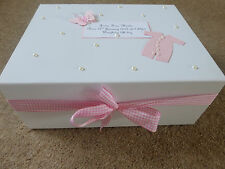 Personalised memory Box New Baby Keepsake Box pink blue /boy girl Baby Shower