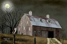 New Primitive Country MIDNIGHT MOON Owl Red  Barn Canvas Picture Billy Jacobs