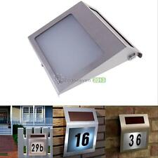 3LED Stainless Solar Power Home Illumination Doorplate Lamp House Number Light