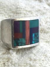 Vintage Sterling Silver Native American Navajo Ring Turquoise Sign Men Size 12.5