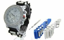 3 Row Hip Hop Iced Out Watch Set with 3 Interchangeable Bands ICE KING new