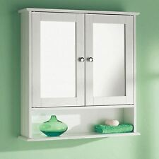 Bathroom Wall Mounted Cabinet Double Mirror Door Wooden White Storage Shelf Unit
