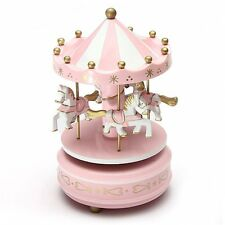 Wind Up Wooden Horse Fairground Roundabout Carousel Musical Box Pink