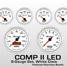 C2 6 Gauge Set, White Dials, Polished Stainless Bezels, Electric Speedo, 2264SS