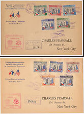 2 - 1938 PANAMA FDC SC# 317-21 & C48-53 REGISTERED CACHETS STATUE OF LIBERTY
