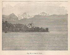 A1859 Svizzera - Lago di Thun - Xilografia - Stampa Antica del 1895 - Engraving