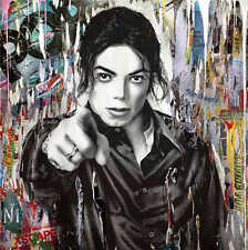 Mr Brainwash Michael Jackson Bansky Abstract Oil Painting on Canvas 28x28""
