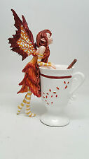 Amy Brown Apple Cider Cinnamon Faery Fantasy Art Statue Tea Cup Autumn Fairy