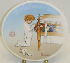 Holiday 1990 Norman Rockwell Vintage Plate By Edwin Knowles - A Christmas Prayer