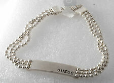 Guess Necklace Jewelry Silver Tone Metal Three Strand Beaded Chain Choker