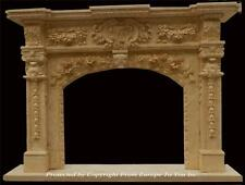 BEAUTIFUL HAND CARVED MARBLE ESTATE DESIGNER FIREPLACE MANTEL - MNTL#5
