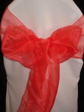 100 PERSIMMON BURNT ORANGE ORGANZA WEDDING BANQUET CHAIR SASHES BOWS
