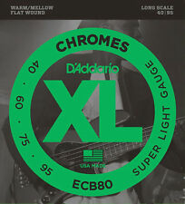 D'Addario Chromes ECB80 Super Light Gauge Flatwound Electric Bass Strings