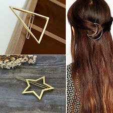 3pcs Women Gold Triangle Moon Star Hair Clip Barrette Hairpins Hair Jewelry