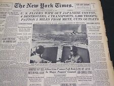 1944 NOVEMBER 12 NEW YORK TIMES - PATTON 5 MILES FROM METZ, CUTS OUTLET- NT 4313