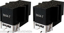 NEW, (2) SHURE M44-7 TURNTABLE CARTRIDGE w/STYLUS, TWIN DJ SET 44-7 447, SCRATCH