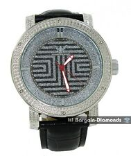 mens diamond king silver tone clubbing hip hop watch black leather man