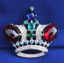 Vintage Large Trifari Alfred Philippe Crown Pin Red Cabochon Blue Green Goldwash