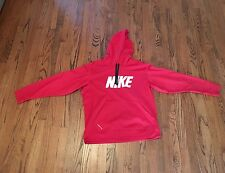 Nike Therma Fit Hoodie Sweatshirt Men's Large Pullover Chest Logo Red