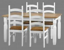 CORONA WHITE AND DISTRESSED WAXED PINE 5' DINING SET TABLE & 4 CHAIRS