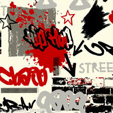 Debona - Wallpaper, Grafitti - White & Red, Street Art, Kids home roll BNIB 6392
