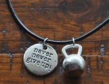 Never Give Up & Kettlebell Pendant Necklace Bodybuilding Muscle Gym Crossfit
