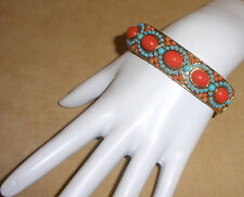 Gorgeous Faux Coral & Turquoise Bead Cuff Bracelet Set in Gold Tone Metal