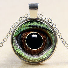 Vintage eyes Cabochon Silver plated Glass Chain Pendant Necklace #01