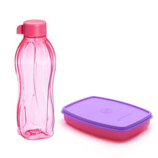 New Tupperware Slim Small Lunch Box with Eco Aqua Water Bottle 500 ml