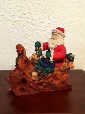 """VINTAGE SANTA IN SLEIGH WITH LOTS OF PRESENTS 8"""" LONG 8"""" TALL LOOKS HAND CARVED"""