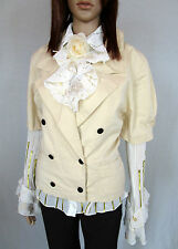 Womens Vtg Retro Beige Short Sleeve Double Breasted Blazer Jacket sz 16 AM47
