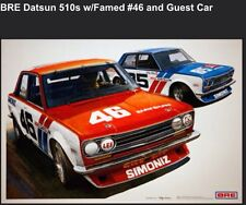 BRE Datsun 510s w/Famed #46 and Guest Car. Car Poster New! Own It!