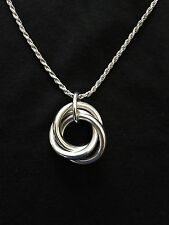 Elle Sterling Silver Triple Interlocking Circle Pendant, 18 Inches