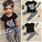 2016 Toddler Kids Baby Girls Outfits Short Sleeve T-shirt Tops Pants Clothes Set