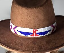 RED BLUE WHITE PATRIOTIC HATBAND/ HEADBAND NATIVE STYLE INSPIRED BEAD WORK