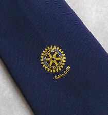 Rotary International Basildon Club asociación tie Vintage 1970's 1980's Navy
